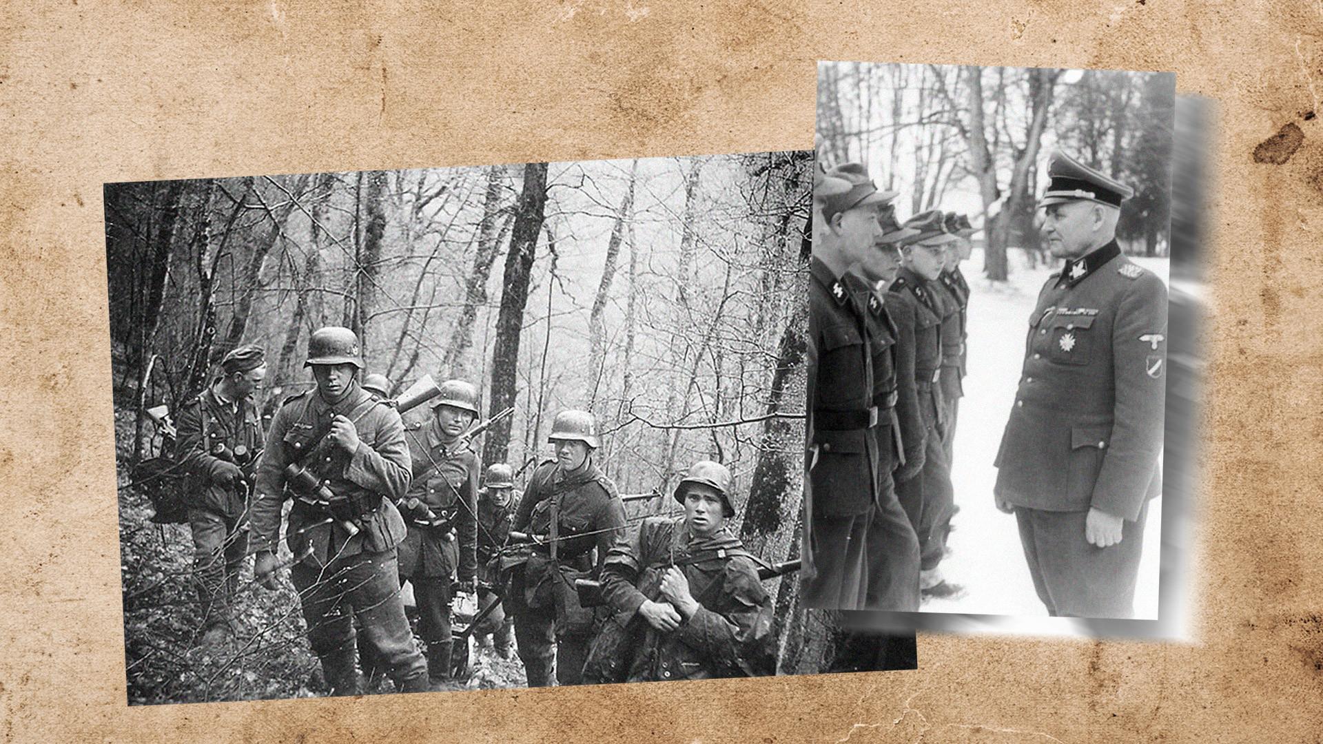 Рудольф Бангерскис и латышские новобранцы СС. Коллаж © L!FE. Фото © Wikimedia Commons