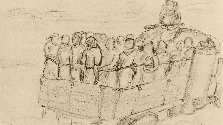 Карандашный рисунок Джозефа Рихтера. Среди сцен депортации. Фото: © sobiborinterviews.nl