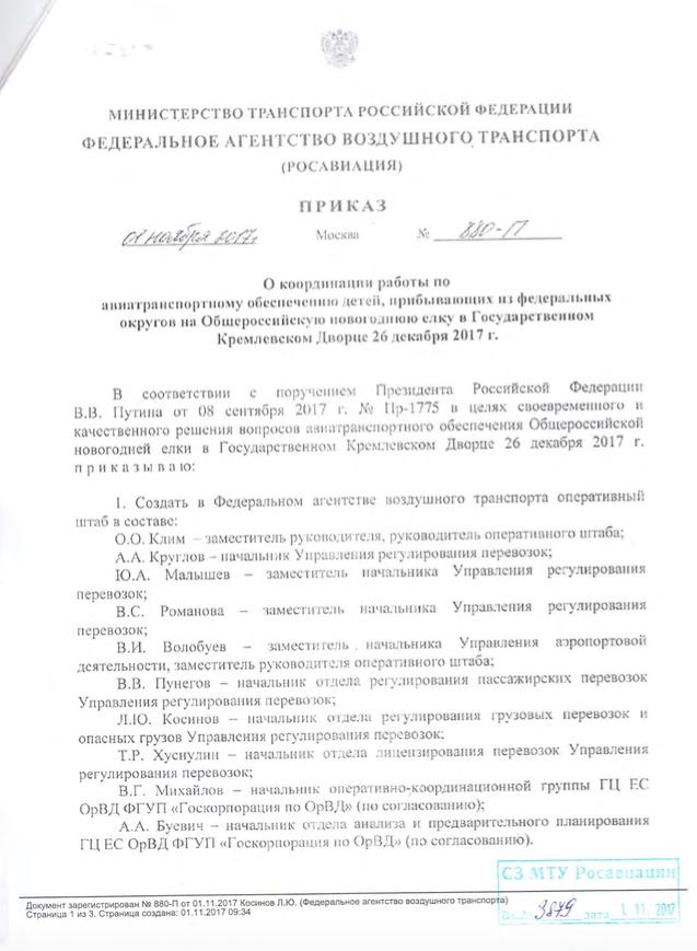Приказ Росавиации о перевозке детей на ёлки в Кремлёвский дворец. Источник: Росавиация. Скриншот: ©L!FE