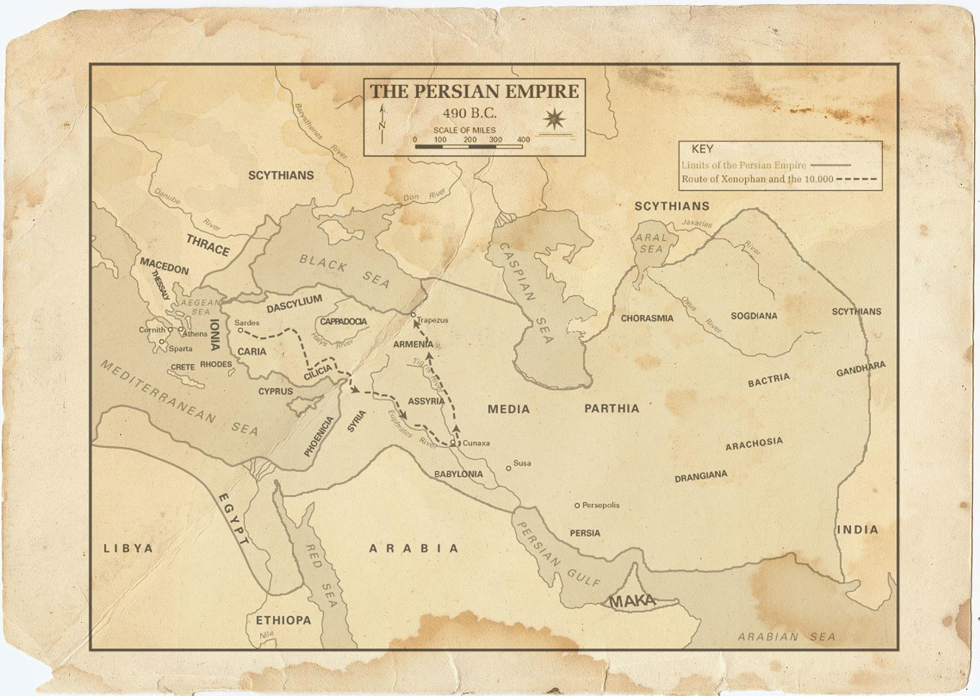 Движение армии Кира Младшего вглубь Персии и отступление греков к Чёрному морю. Коллаж © L!FE. Фото: © wikipedia.org