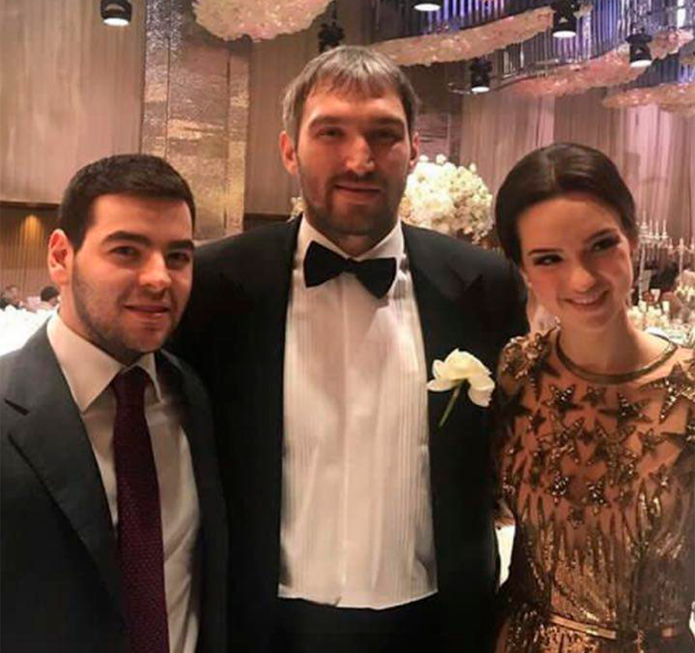 Марк Типикин и Екатерина Воробьёва на свадьбе Александра Овечкина и Анастасии Шубской Фото: Instagram
