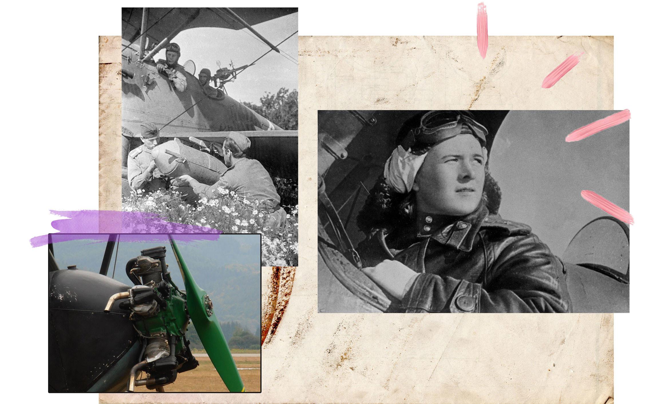 Слева направо: Шумопламегаситель мотора У-2. Вооруженцы готовят к вылету безотказный ночной бомбардировщик По-2. Командир 46-го гвардейского авиационного полка подполковник авиации Евдокия Давидовна Бершанская. Великая Отечественная война 1941–1945 г.г. Открытая кабина У-2 при поиске целей была преимуществом: летчику в ней было проще видеть и слышать чужую пехоту и технику. Коллаж © L!FE Фото: © РИА Новости /Георгий Липскеров / Аркадий Шайхет, Wikipedia.org Creative Commons