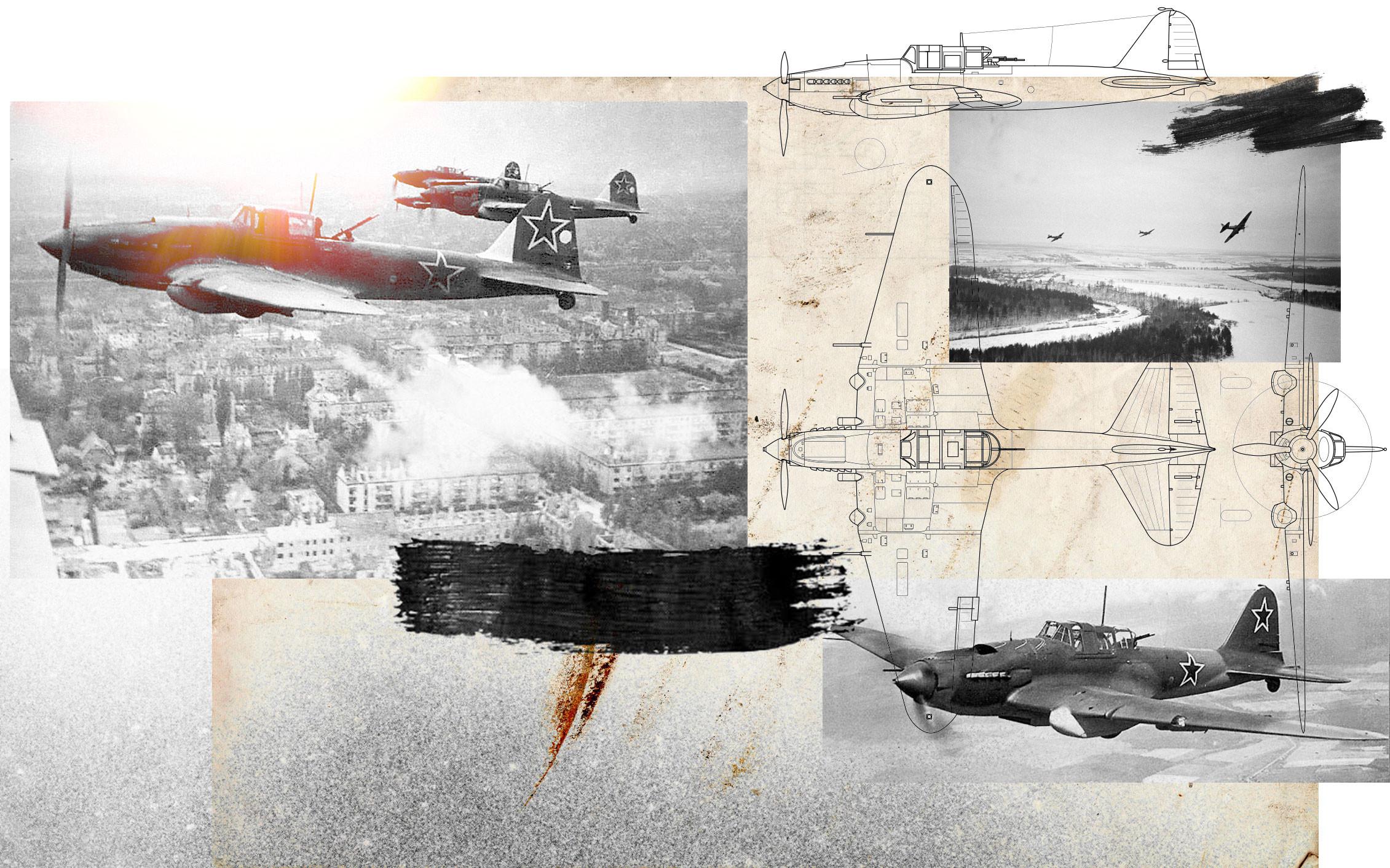Ил-2 над Берлином в мае 1945 года. Ил-2 пролетает над немецкими позициями во время битвы под Москвой, 1 декабря 1941 года. Коллаж © L!FE Фото: © Wikipedia.org Creative Commons