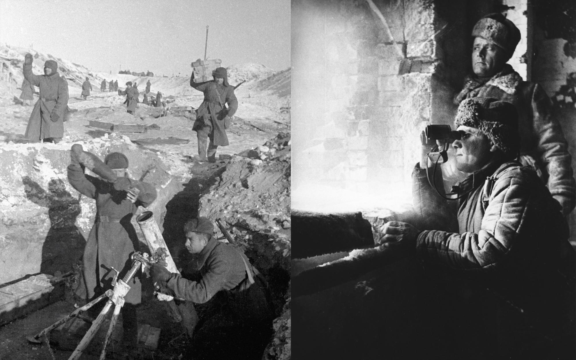 Слева направо: Бойцы миномётной батареи комбата Бездетко ведут огонь по немецким позициям; Сталинградский фронт, февраль 1943 года. На наблюдательном пункте. Коллаж © L!FE. Фото: © РИА Новости / Георгий Зельма