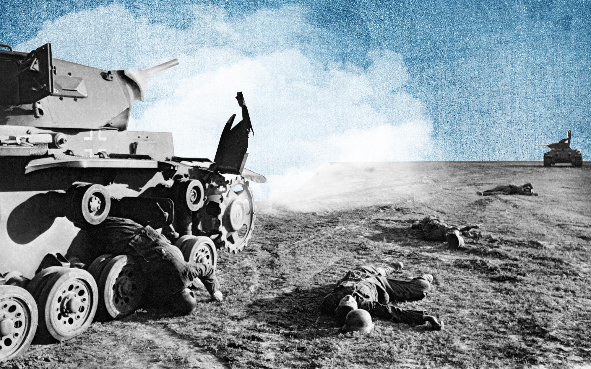 Танковые бои под Сталинградом.Подбитый немецкий средний танк Pz.Kpfw. III, погибшие немецкие танкист и пехотинцы после атаки. Коллаж © L!FE. Фото: © РИА Новости / Георгий Зельма