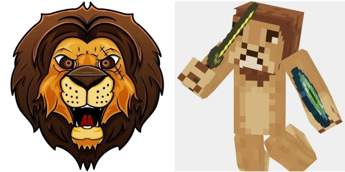 Слева — иконка профиля LionMaker, справа — его аватар в игре Minecraft.