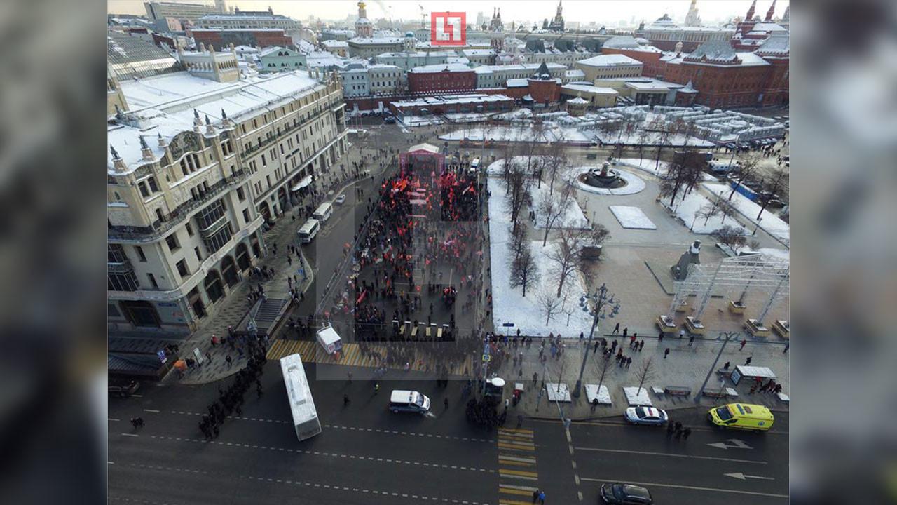 Митинг КПРФ в Москве, вид с коптера. Фото: ©L!FE