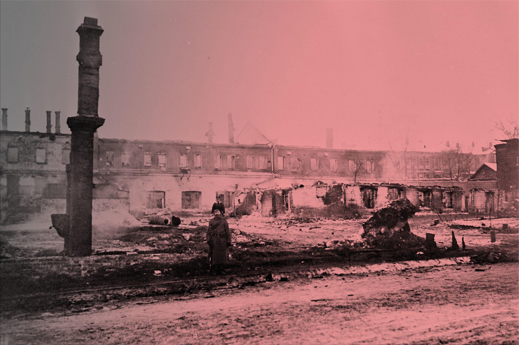 Корпуса мебельной фабрики Николая Шмита на Пресне были разрушены залпами царской артиллерии в декабре 1905 года. Революция 1905–1907 гг. Фото: ©РИА Новости