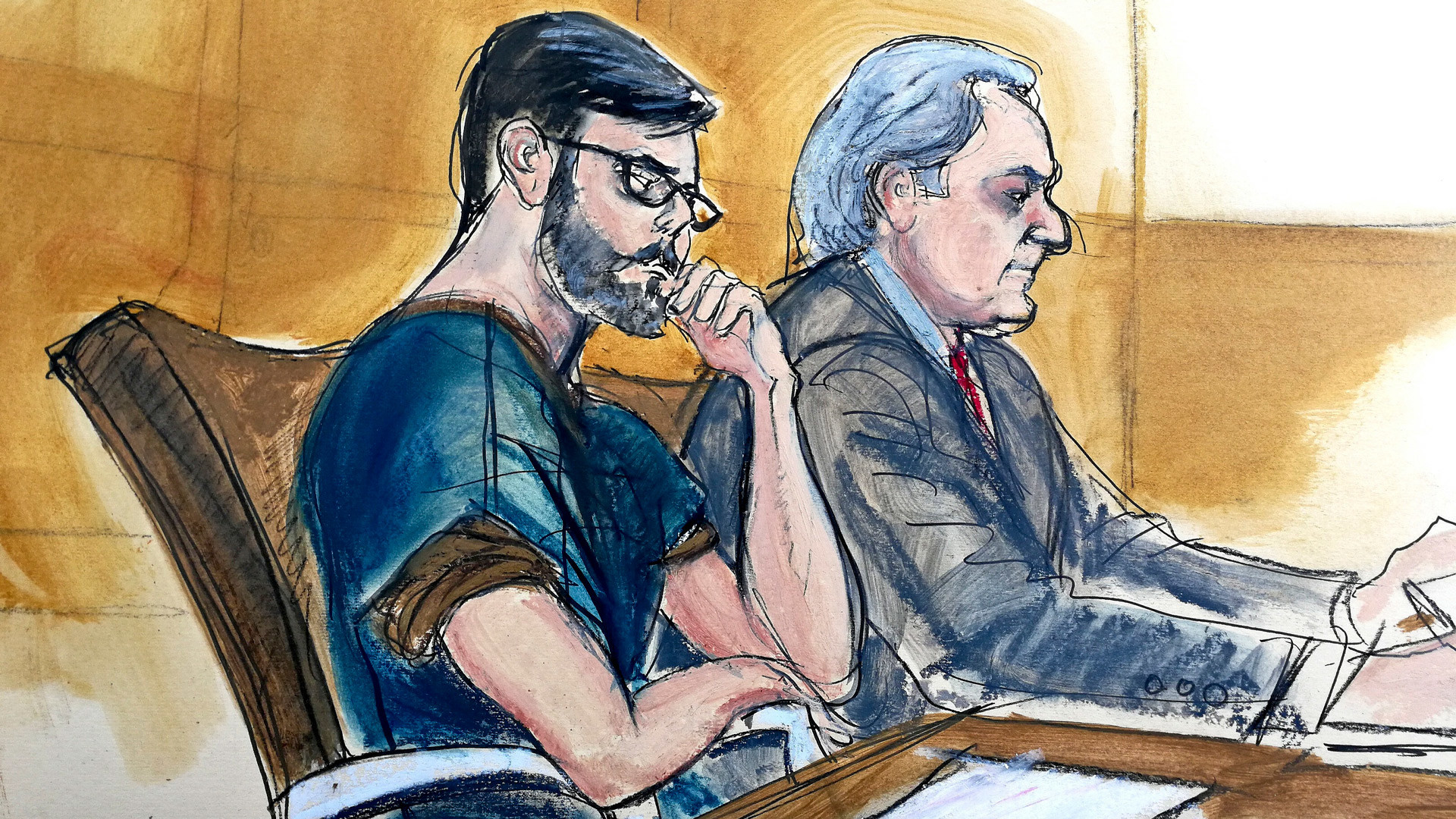 Эскиз из зала суда. Фото: © Elizabeth Williams via AP