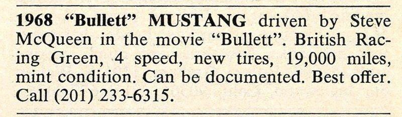 """Объявление о продаже """"мустанга"""" из фильма """"Буллит"""". Фото: © caranddriver.com"""