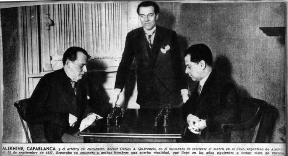 Слева направо: Алехин, арбитр Карлос Аугусто Керенсио, Капабланка. Фото: © wikipedia.org