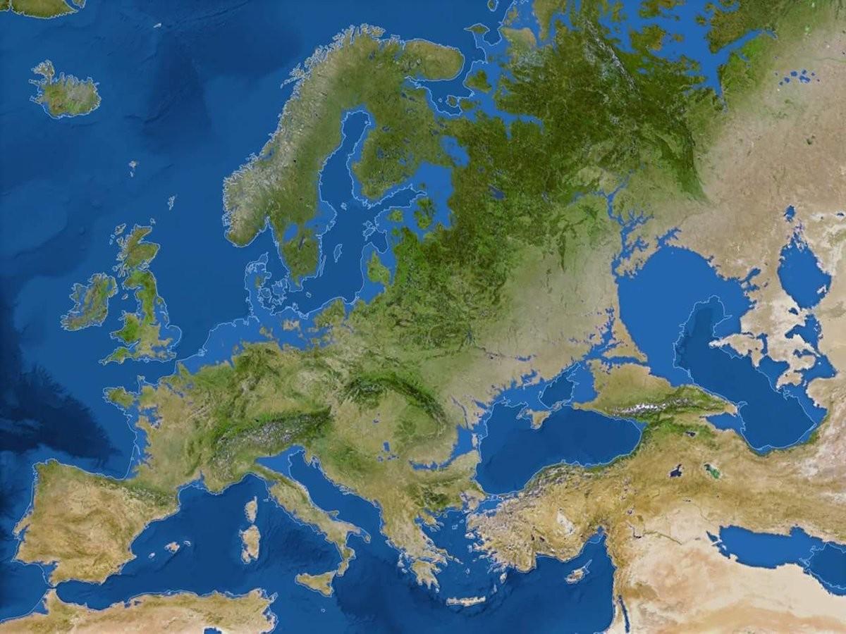 Карта Европы после полного таяния льдов и без учёта прибрежных дамб. Фото: © twitter@Geography_Class
