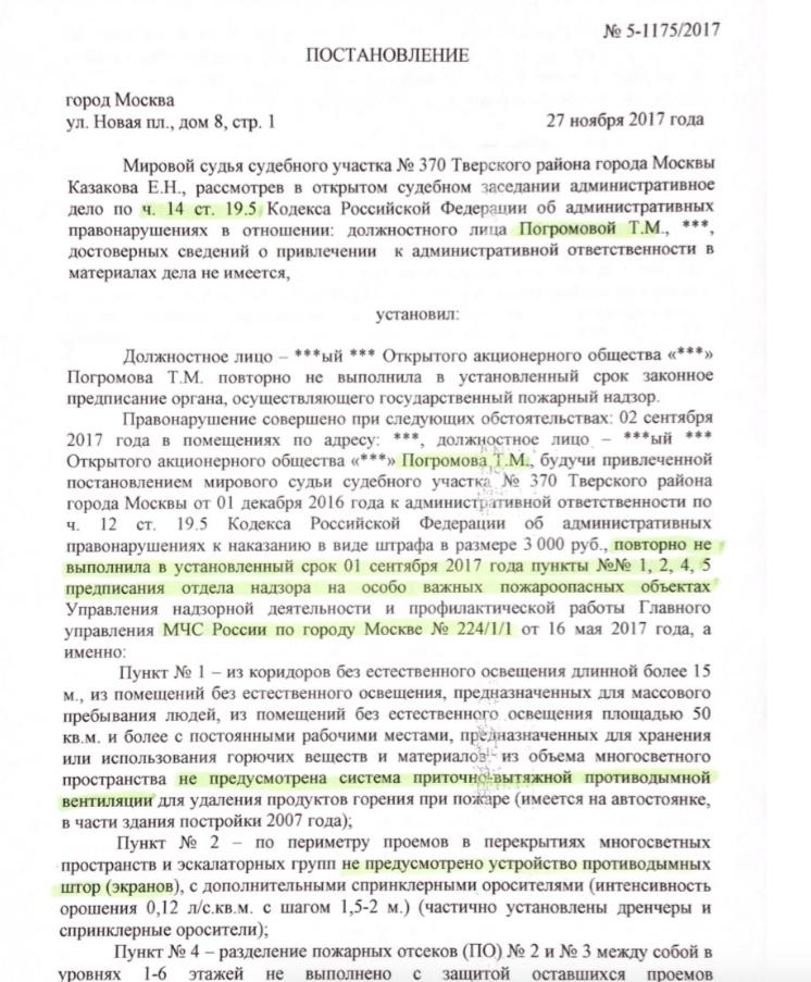 Лист судебного постановления о штрафе директору ЦУМа Тамаре Погромовой. Фото: © L!FE