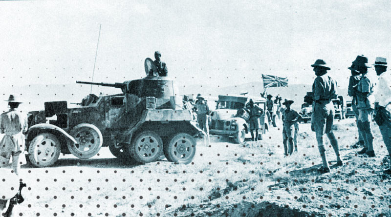 Британская транспортная колонна тылового снабжения с советскими бронеавтомобилями сопровождения. Сентябрь 1941 года, Иран. Фото: © Wikipedia.org
