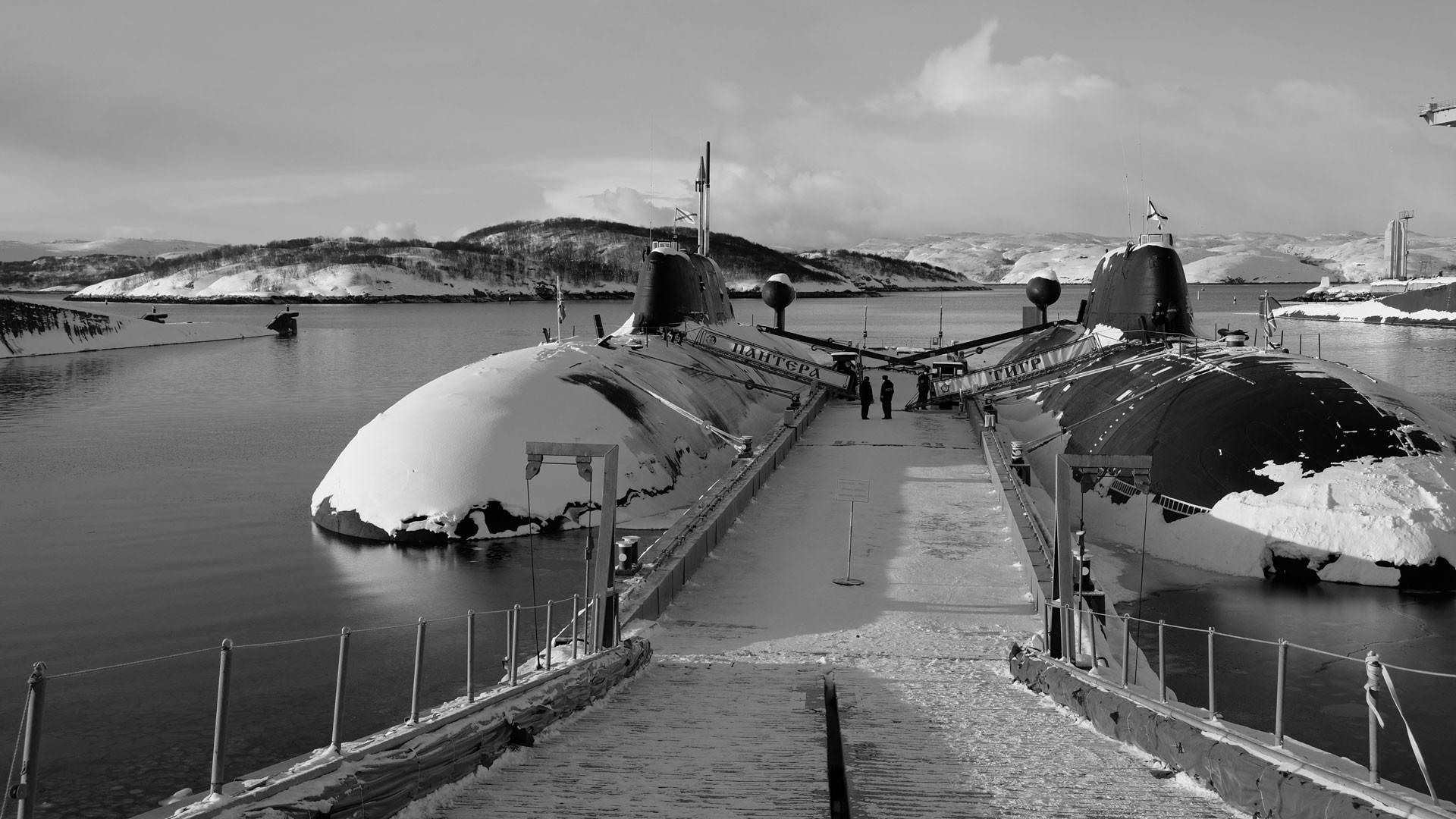 """Подводные лодки проекта 971 """"Щука-Б"""" на базе в Гаджиево Мурманской области. Фото: © РИА Новости/Павел Львов"""