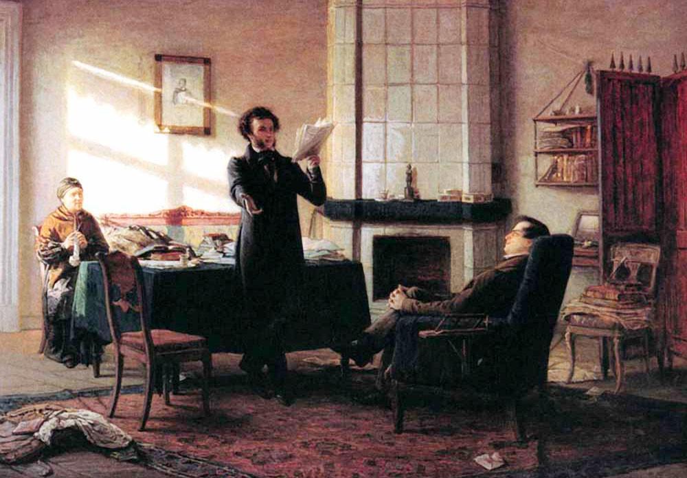 Пушкин в Михайловском. На дальнем плане Арина Родионовна. Фото © Wikimedia Commons