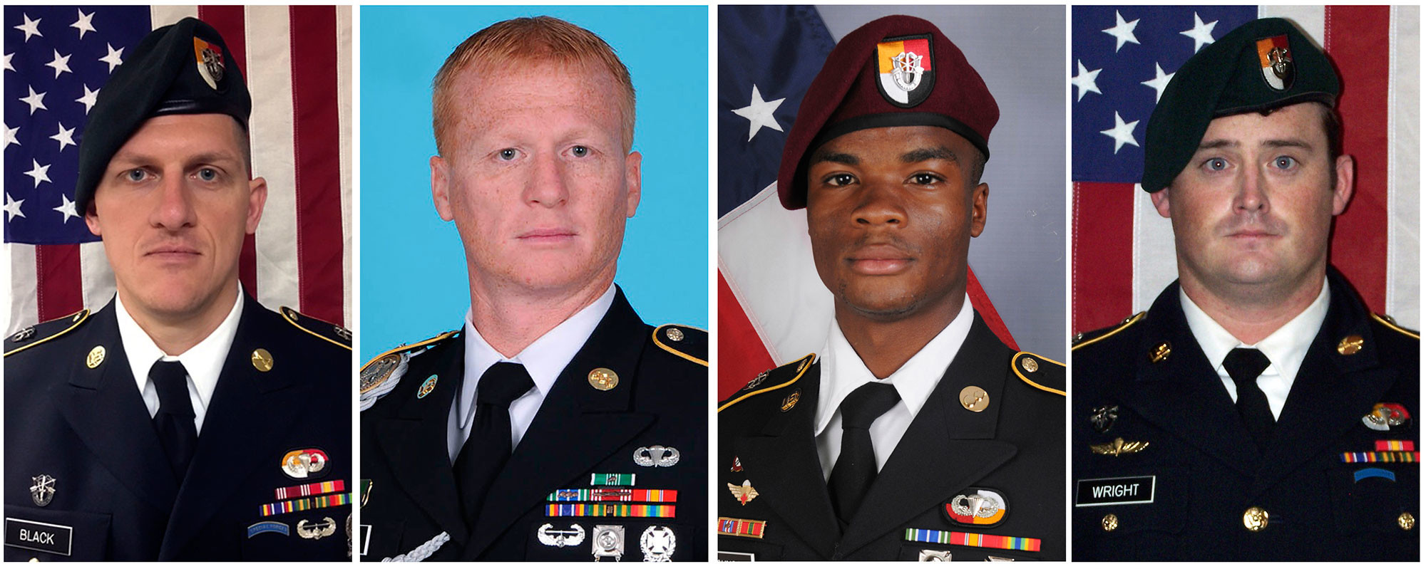"""Штаб-сержант Брайан Блэк, штаб-сержант Джеремайя Джонсон, сержант Ла Дэвид Джонсон, сержант Дастин М. Райт. Все четверо были убиты в Нигере, когда совместный патруль американских и нигерских сил попал в засаду боевиков, предположительно, связанных с группировкой """"Исламское государство"""". Фото: © U.S. Army via AP"""