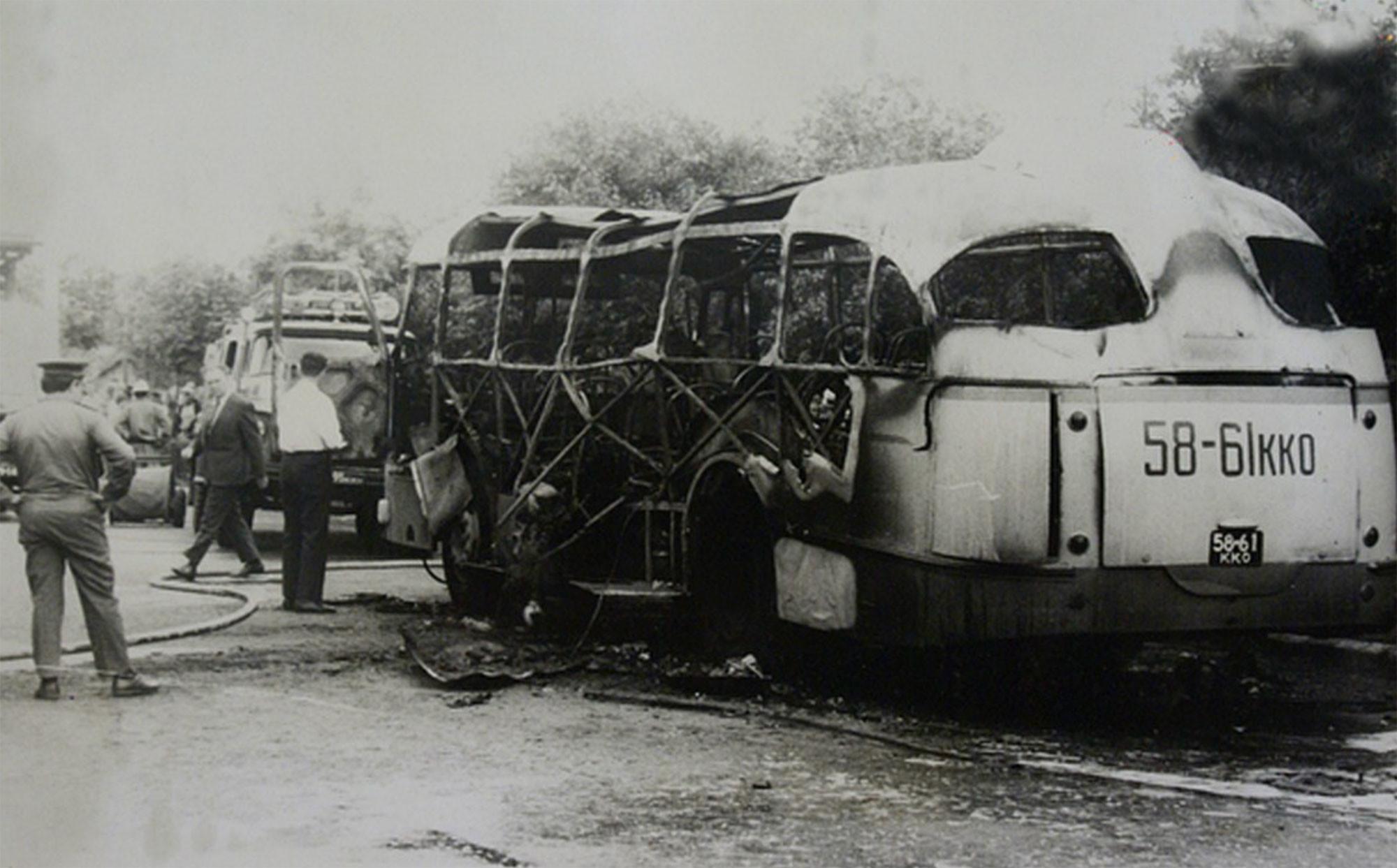 Автобус ЛАЗ-695Е после взрыва. Фото: © Wikipedia.org