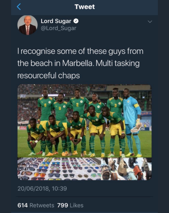 Скриншот удалённого твита Шугара
