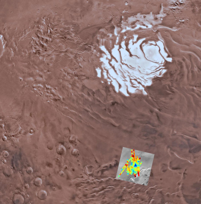 Озеро находится близ ледовой шапки Южной равнины Марса (Planum Australe). Фото: © wikipedia.org