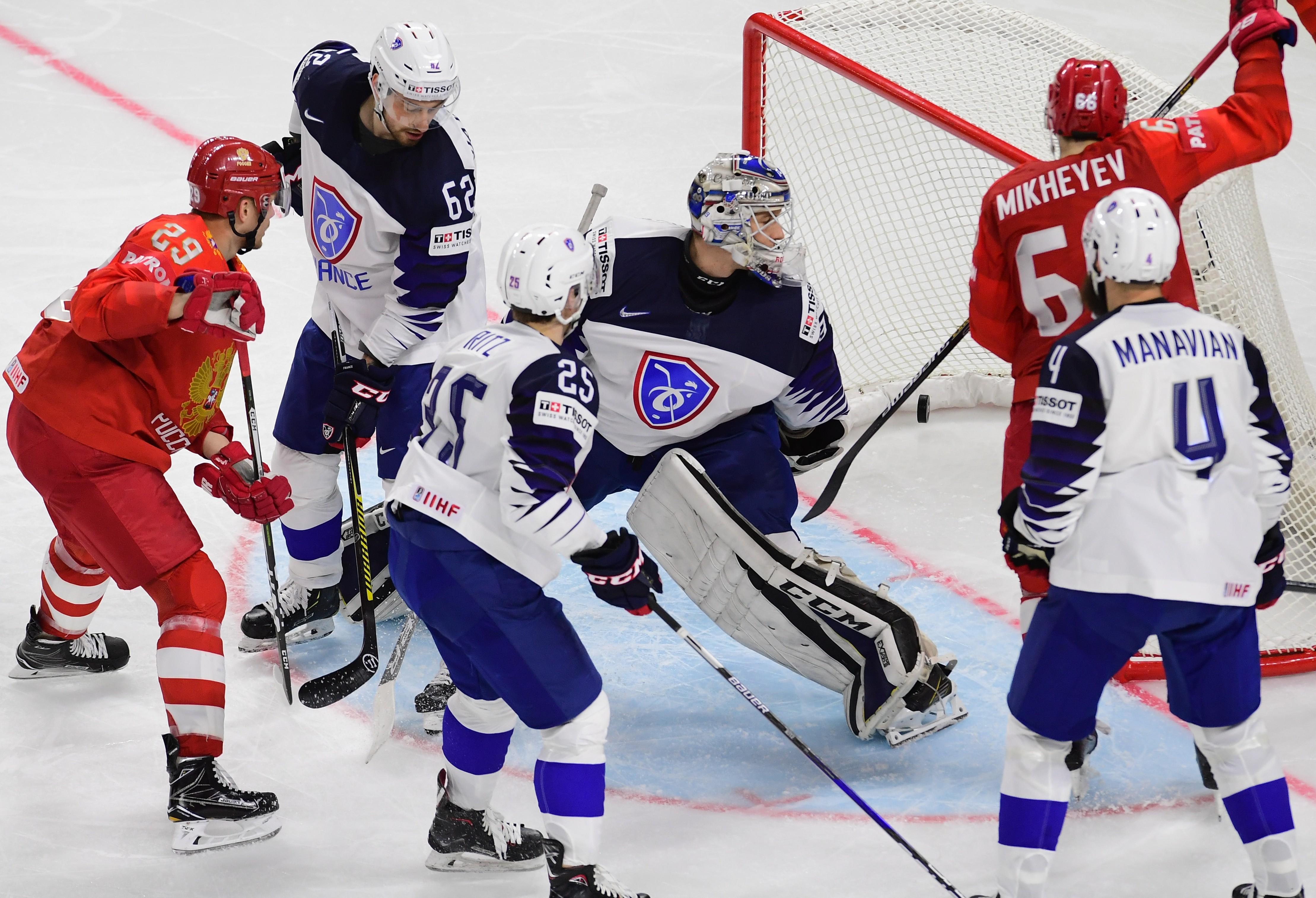 Сборная Франции на последнем чемпионате мира по хоккею уступила России 0:7. Фото: ©РИА Новости/Алексей Куденко