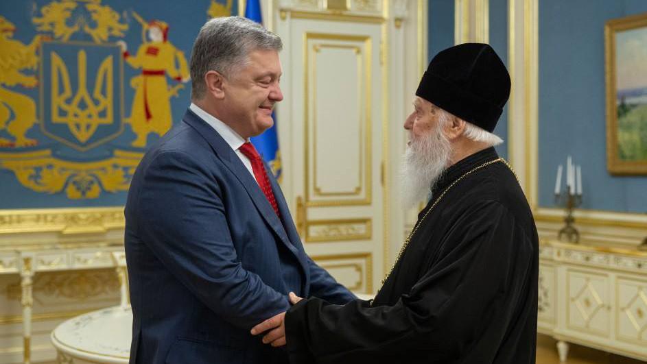 Пётр Порошенко и Филарет Денисенко. Фото: © Facebook/ Патріарх Філарет