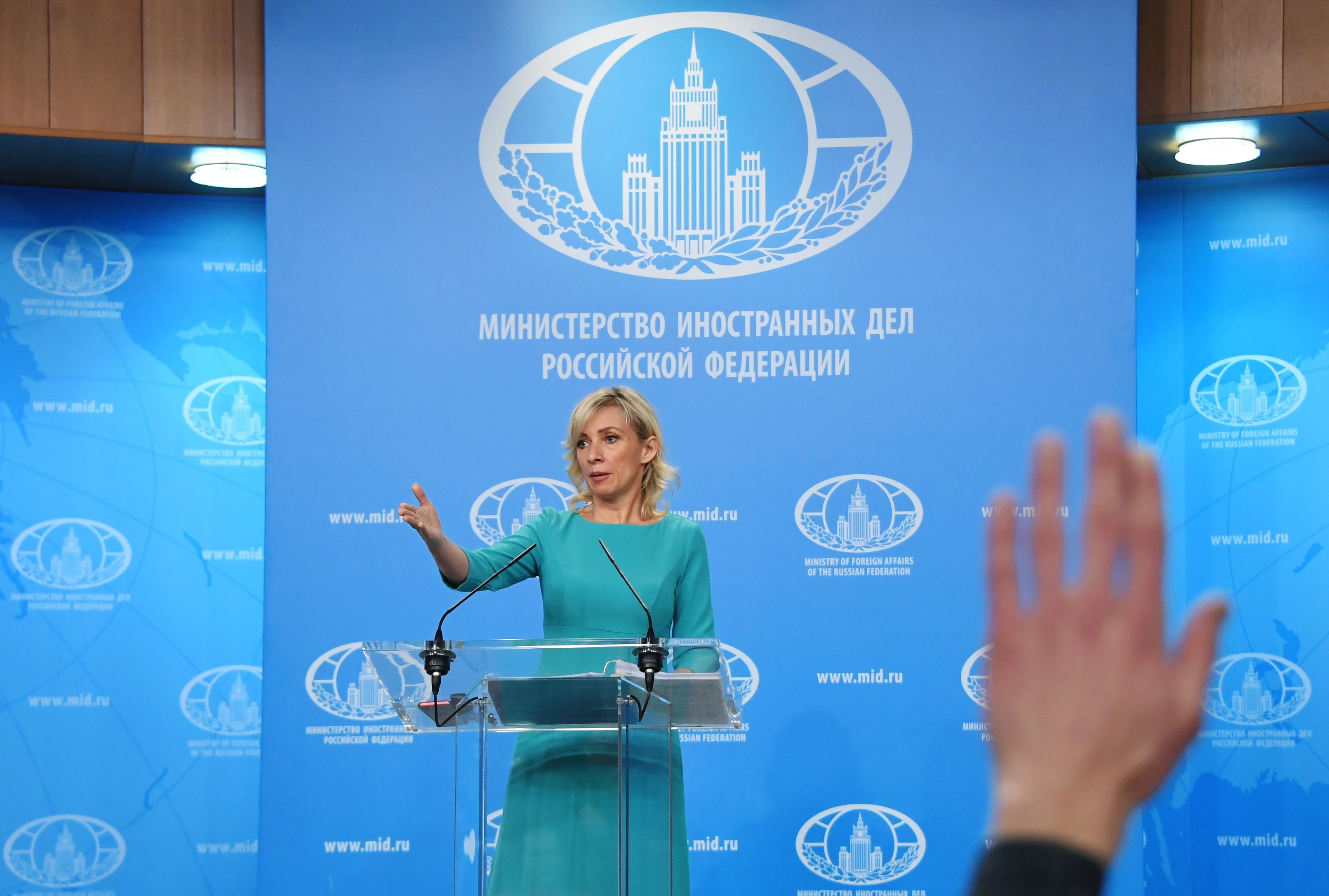 <p><span>Мария Захарова на брифинге. Фото: &copy;РИА Новости/ Илья Питалев</span></p>