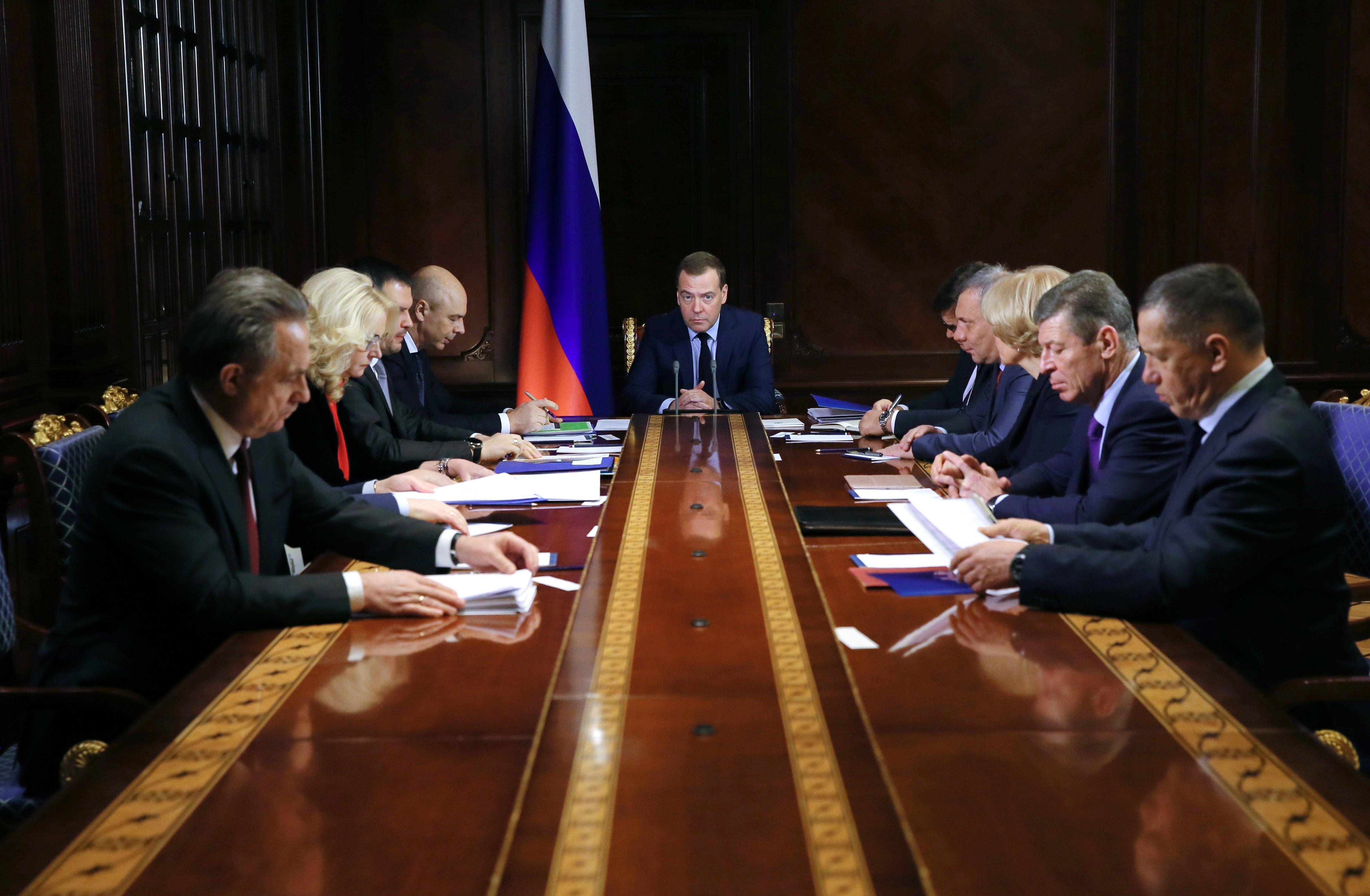 <p><span>Председатель правительства РФ Дмитрий Медведев проводит совещание с вице-премьерами РФ.&nbsp;Фото: &copy; РИА Новости/Екатерина Штукина</span></p>