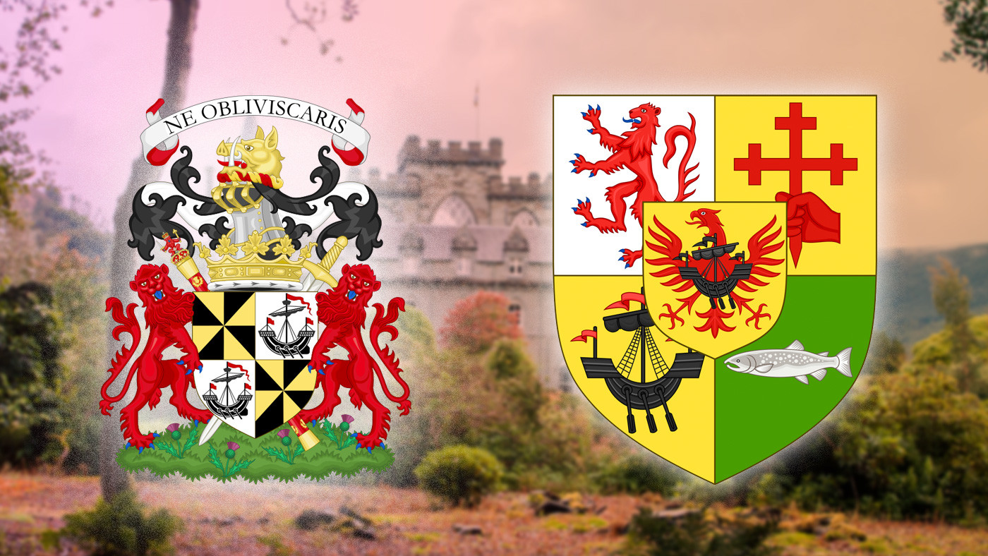 Герб герцогов Аргайл и герб вождей клана Макдональдов. Коллаж. Фото: © Википедия