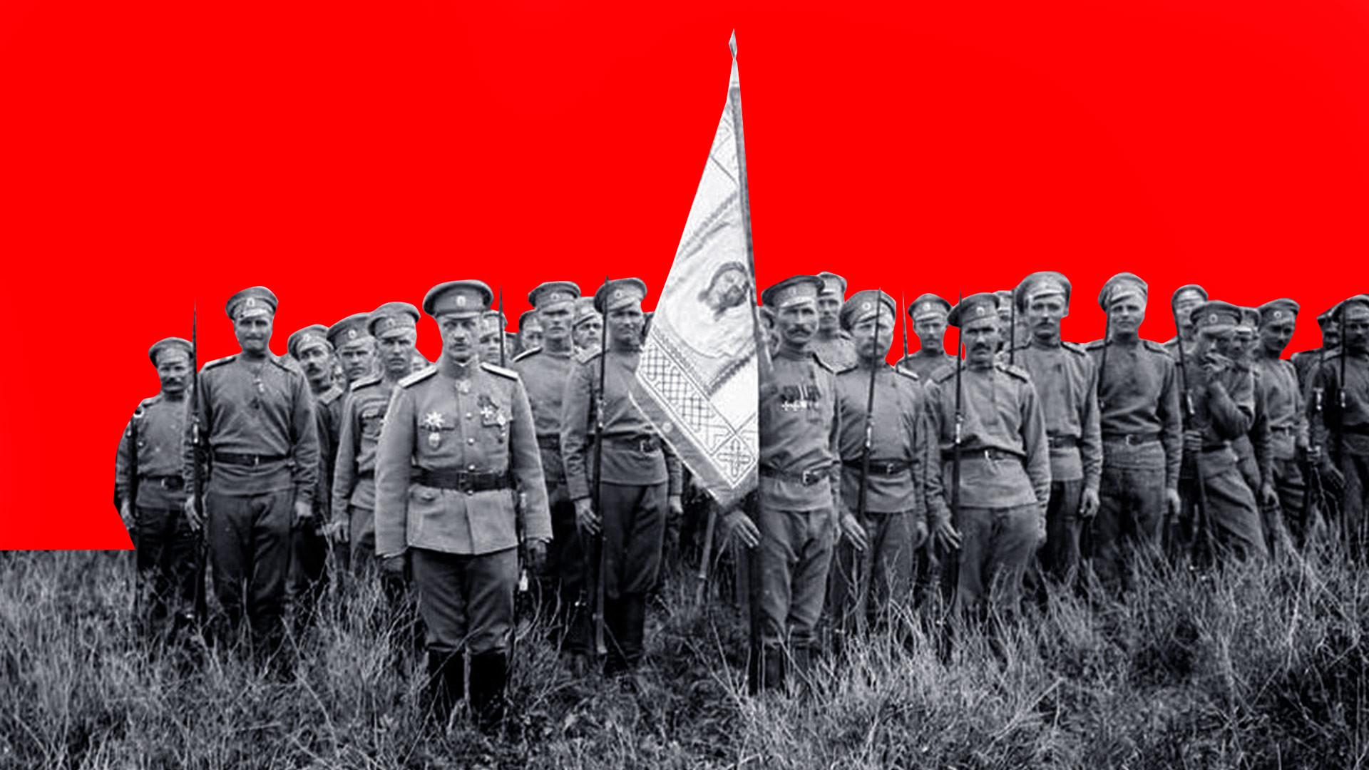 """<p>Русский Особый пехотный полк во Франции, на Западном фронте Первой мировой. Коллаж © LIFE. Фото © <a href=""""http://redstar.ru/nikto-ne-pridyot-nazad/"""" target=""""_self"""">Красная звезда</a></p>"""