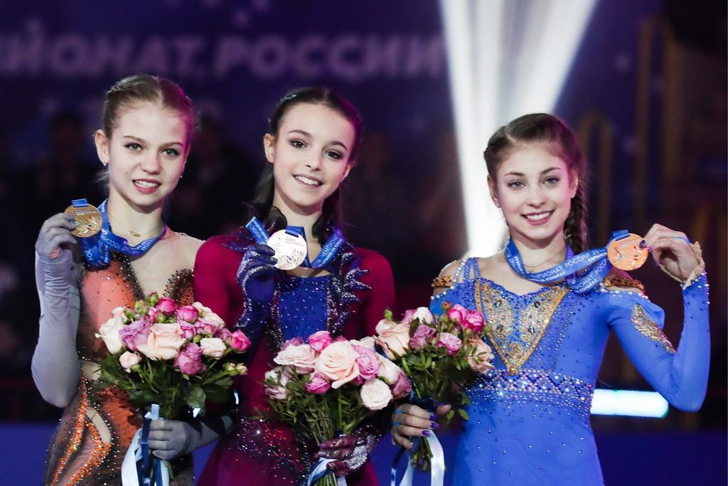 <p>Трусова, Щербакова и Косторная в прошлом году заняли весь пьедестал чемпионата России. Фото © ТАСС / Станислав Красильников</p>