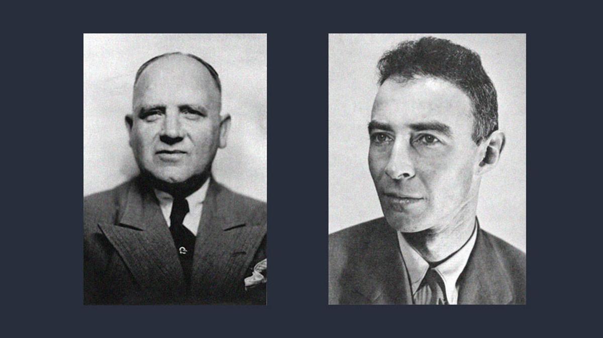 Вилли Леман (слева) и Роберт Оппенгеймер (справа). Фото © Wikipedia