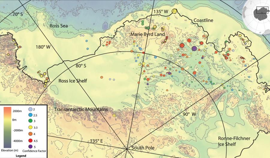 Схема расположения вулканов, найденных в Антарктиде (обозначены разными цветами в зависимости от высоты). Фото © Scientific Committee on Antarctic Research