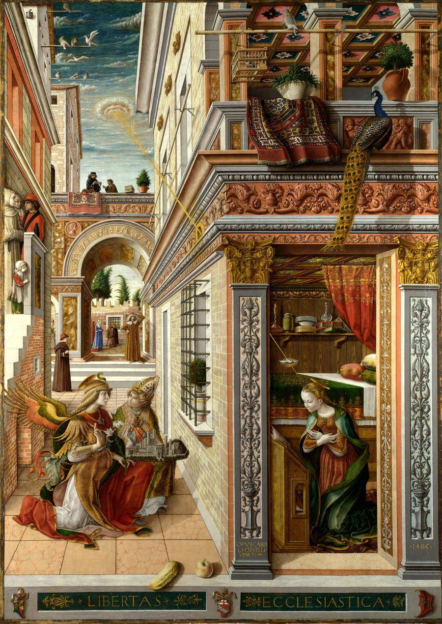 """Картина Карло Кривелли """"Благовещение со святым Эмидием"""", 1486. Лондонская национальная галерея. Фото © Википедия"""