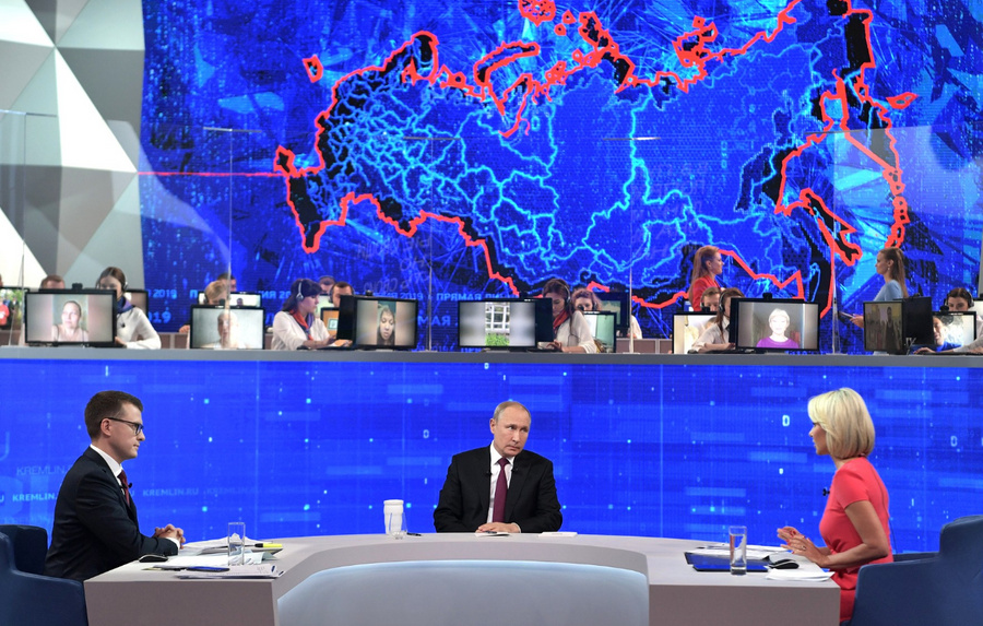 <p>Прямая линия сВладимиром Путиным 2019 года. </p><p>Фото  © Kremlin.ru </p>