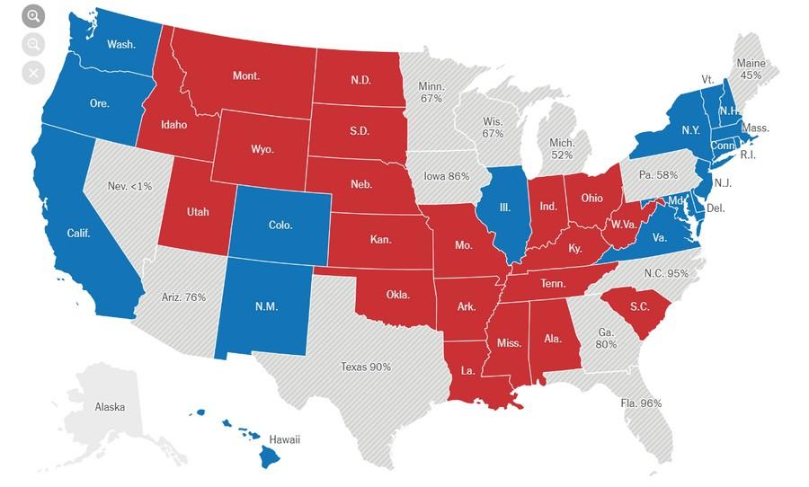 Синие штаты — выиграл Байден, красные — Трамп. В серых — идёт подсчёт голосов. Скриншот © New York Times