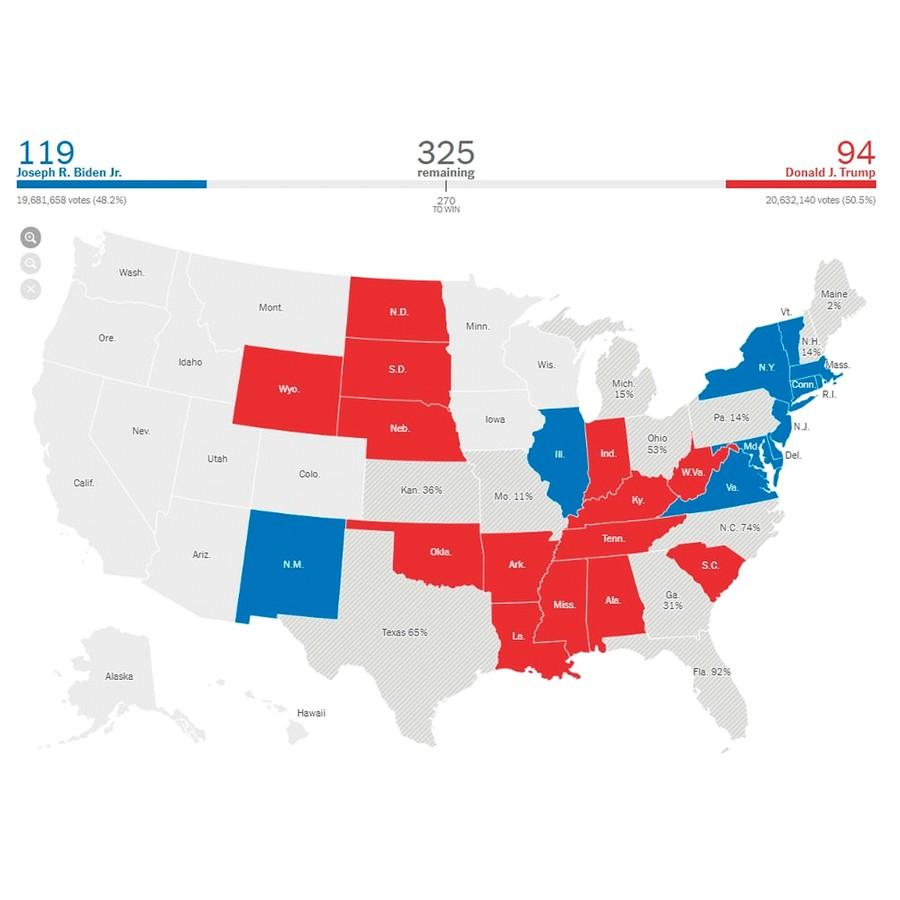 Синие штаты выиграл Байден, красные — Трамп. В серых идёт подсчёт голосов. Скриншот © New York Times