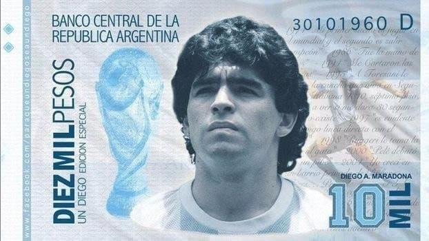 В Аргентине хотят выпустить самую крупную купюру и поместить на неё Марадону