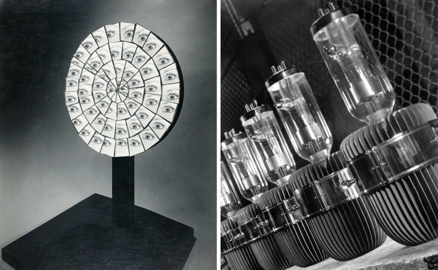 Параболлическое зеркало и радиолампы. Фото © Berenice Abbott