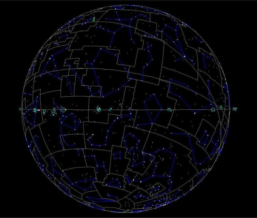 Звёздное небо на 1 января 2021 года. © Татьяна Лукашевич