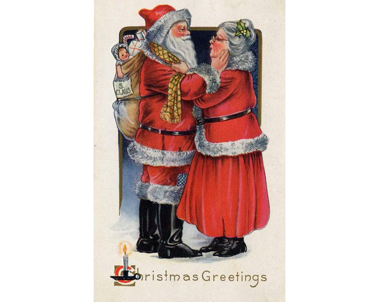 Санта-Клаус и миссис Клаус на открытке 1919 года. Фото © Wikipedia