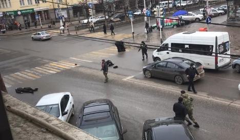 <p>Обстановка в центре Грозного в первые минуты после инцидента. Фото © Соцсети</p>
