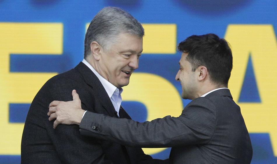 <p>Пётр Порошенко и Владимир Зеленский. </p><p>Фото © ТАСС / Serg Glovny / ZUMA Wire</p>
