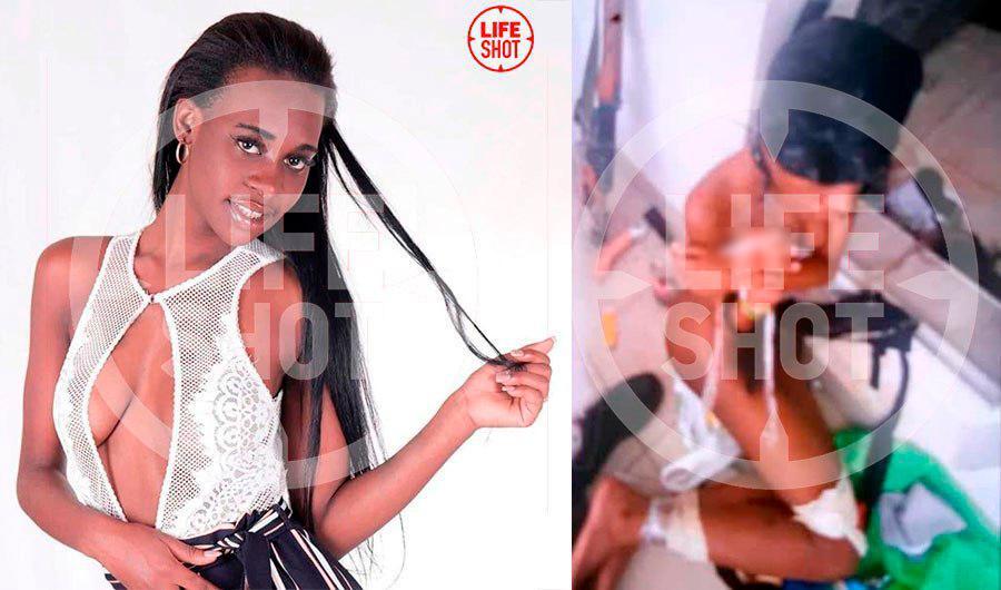 Лоурен. Справа фото девушки с мешком на голове, присланное на телефон её подруги Фото © LIFE SHOT