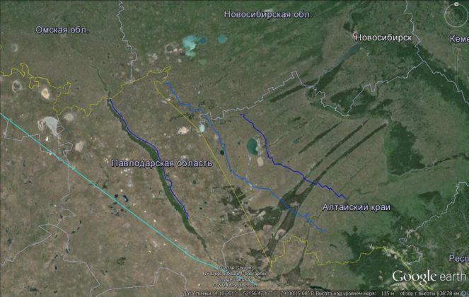 Ленточные боры Алтая, вид сверху. Фото © Google Earth