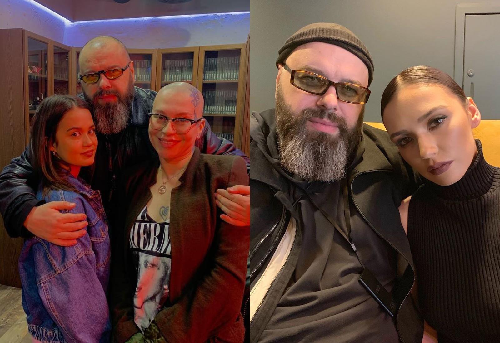 Слева: Максим Фадеев с певицами Доно и Наргиз. Справа — с Ольгой Серябкиной. Фото © Instagram / fadeevmaxim