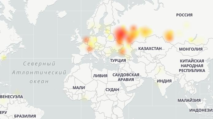 Карта сбоев от Downdetector