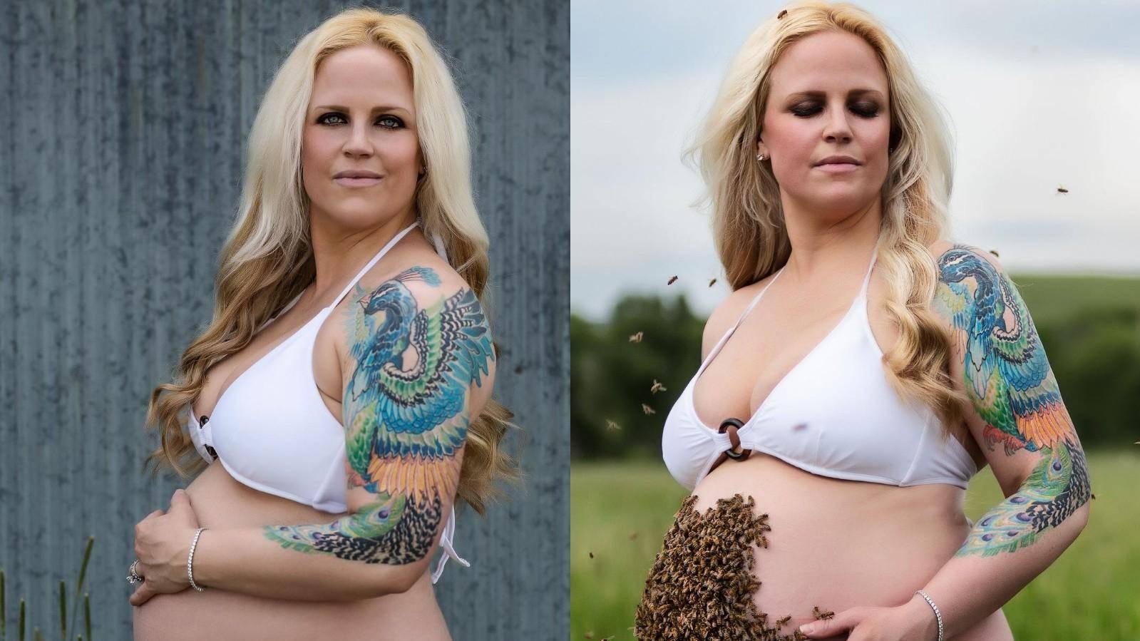 Беременная девушка ужаснула соцсети, устроив съёмку с 10 тысячами пчёл на животе