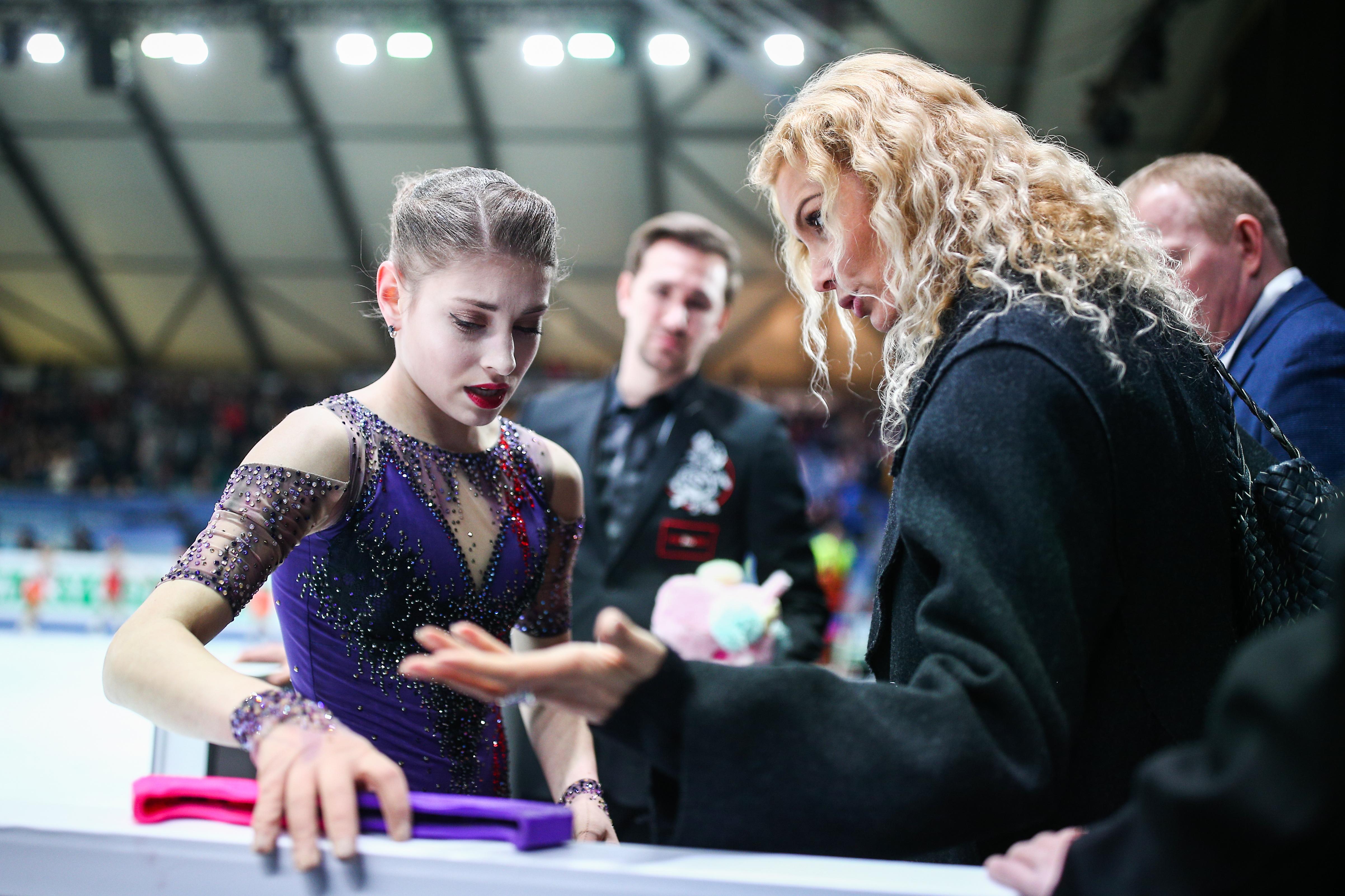 Kostornaya and Tutberidze at the European Championships in January 2020.  Photo © TASS / Sergey Bobylev