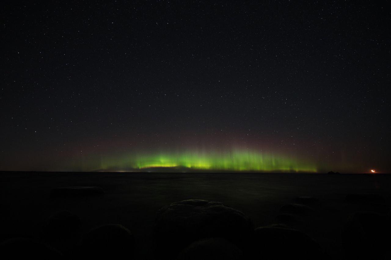 Северное сияние, Ладожское озеро. Фото © Telegram / Астро Фото Болото